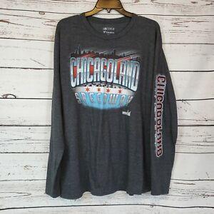 Nascar Fanatics Chicagoland Speedway Long Sleeve Gray T-Shirt Size XL