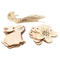 KQ_ KF_ 8Pcs Wooden Easter Rabbit Flower Bunny Home Hanging Rope Ornament Decor