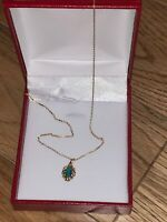 14 Ct Gold Natural Black Opal Pendant With 14 Ct Gold Gold Necklace