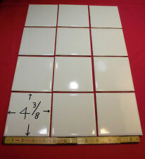 """12  Vintage…White Ceramic Tiles…4-3/8""""…Glossy Finish…by The Robertson Co. (NOS)"""
