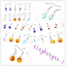 Wholesale Lots 6Pair Round Flower Murano Glass Lampwork Bead Silver P Earrings