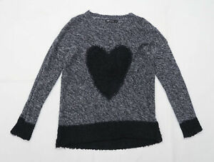 Internacionale Womens Size 12 Love Heart Black Jumper (Regular)