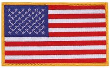 "Jumbo US Flag Patch 3x5"" Gold Border Embroidered Iron On American USA Large Big"