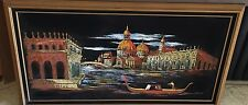 Vintage ASHBROOK Mid Century Venice Italy Themed Velvet Light up Painting WORKS