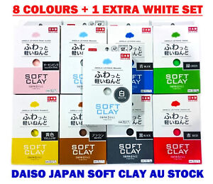 DAISO Soft Clay Lightweight Air Dry Model Craft DIY Slime 8 Colours&Free 1 White