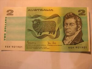 Australian 1983 $2 Nice Repeater Number KGH 901 901 (As Rare as Radar)