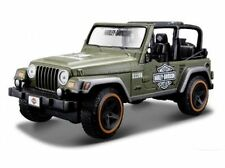 Harley Davidson Custom, Jeep Wrangler Rubicon army grün, Maisto 1:27
