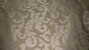 King Size Damask Duvet Cover in Shimmery Taupe & Light Green Neiman Marcus EUC
