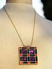 "kate spade 'LEWITT SQUARES"" PENDANT NECKLACE RUBY RED ROYAL PURPLE"