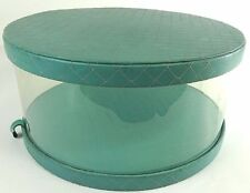"""VTG Ladies HAT BOX 14"""" Round Clear w/ Robins Egg Blue Quilted Top Bottom c1950's"""
