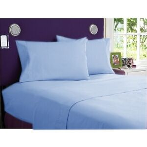 1000 Thread Count Egyptian Cotton 7Pc Bedding Item US Twin XL Sky Blue Solid