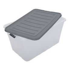 5 x 60L Transparant Plastic Storage Tubs Crate Containers Tub with wheels