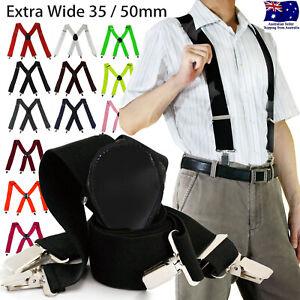 35/50mm 4 Clips Wide Men's Adjustable Elastic Suspenders Clip On Braces Trouser
