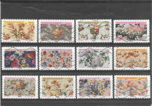 France 2021. Patterns Fleurs. Complete Set Of 12 Stamps Aa Canceled