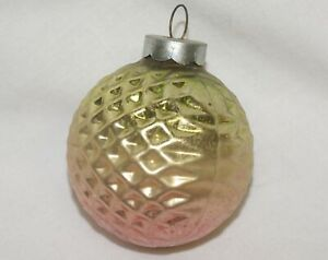 """Vintage Shiny Brite Christmas Ornament Golf Ball Dimpled Green Gold Pink 2"""""""