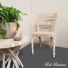 Teak Dining Chair Shabby Chic White Wash Hand Carved