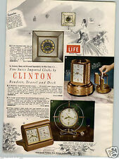 1955 PAPER AD 2 Sided Clinton Travel Swiss Made Clock Clocks Musical Cigarette
