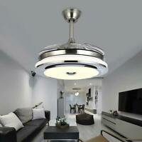 "Modern 36"" Invisible Ceiling Fans with 3-Color LED Light Fan Chandelier+remote"