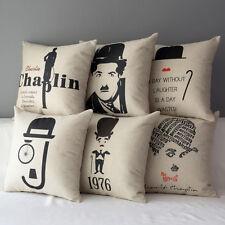 """17"""" Charlie Chaplin Sofa Decorative Throw Pillow Case Cushion Cover Pillowcase"""