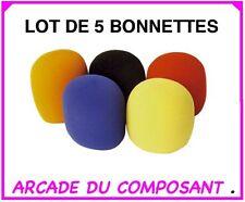 LOT 5 BONNETTES COULEURS ANTI-VENT POUR MICRO (ref 86-0444)