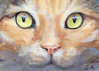"""print ACEO Kitty Cat Kitten painting """"Green Eyes"""" Calico Tortie animal ATC pet"""