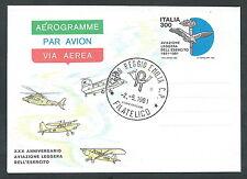 1981 ITALIA AEROGRAMMA AVIAZIONE LEGGERA ESERCITO FDC