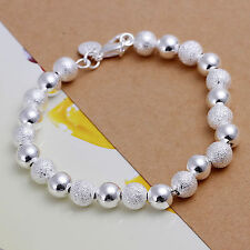 Womens 925 Sterling Silver Plated 8mm Beads Ball Bangle Bracelet #BR35