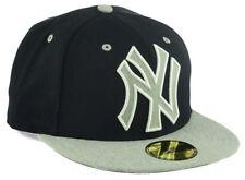 New York Yankees MLB New Era 59FIFTY XL LOGO Wool Hat Cap 7 1/2 Navy Gray  NWT