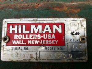 Pair of Hillman 7.5 ton equipment skates w handles