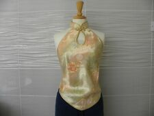 Lady Satin Halter Neck Top Frog Button Embroidered Backless Chinese Flower Retro