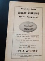 Ephemera 1954 Advert Stuart Surridge Sports Equipment London  Creased ea4