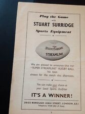 Ephemera 1954 Advert Stuart Surridge Sports Equipment London  Creased ea4