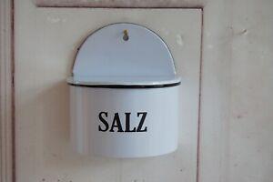 Landhaus Wandschale, SALZ, Salzbehälter mit Deckel,in Emaille Optik, shabby chic