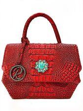 Raviani Elegant Satchel Bag In Red Embossed Croco Genuine Leather W/TQ Concho