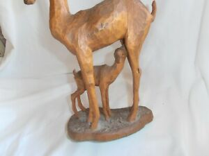 FABULOUS~VINTAGE~SIGNED~HAND CARVED SCULPTURE~MOTHER GISELLE WITH NURSING FAWN