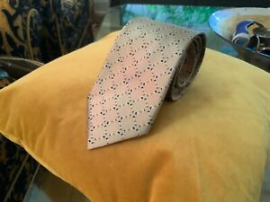 Gucci Silk Tie - Geometric Design Made with Stirrups Against a Gold Background