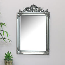 Antique silver wall mirror French vintage decorative arched living room hallway