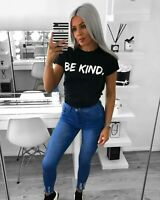 Ladies Womens  Short Sleeve Vogue Slogan Printed Fashion Summer T-shirt Tee Tops