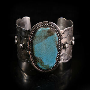 Huge Turquoise Cuff bracelet Large Native American Heavy Sterling Navajo Mens