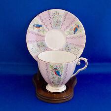 Royal Grafton Kingfisher Tea Cup Saucer Bird Pink Panels Hand Paint England Vtg