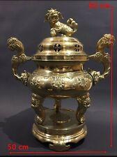 Indochine 1900 Important Brûle-Parfum de Temple Bronze Chien de Fo & Dragons.
