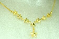 22K THAI BAHT DP YELLOW GOLD ~ BEAUTIFUL STAR STARS LARIAT Y CHAIN NECKLACE