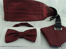 13) Rosso / burgundy-tiny DIAMANTI shapes-silk UOMO PAPILLON + cummerbund & Hanky Set