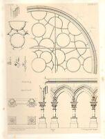 1857 Grande Arquitectura Estampado ~ Dijon Catedral Notre-Dame Medievales Gótico