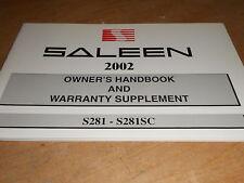 2002 SALEEN S281 S281SC OWNERS HANDBOOK MANUAL NOS OEM