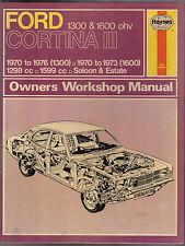 FORD Cortina Mark III 1300 & 16000 OHV 1970-1976 Haynes Proprietari Manuale di Officina