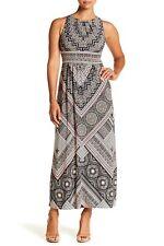 London Times Printed Maxi Dress (petite) Crew Neck Sleeveless Size 10p