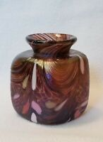 "Midsummer Glass Studio Blown Iridescent Cube Vase 3-1/2"" h. with Sunburst Pontil"