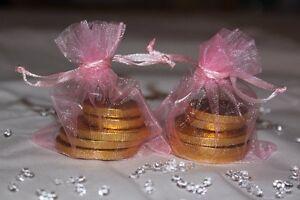 70 x LIGHT BABY PINK ORGANZA BAGS WEDDING TABLE DECORATION 7cm x 9cm UK SELLER