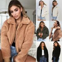 Womens Winter Warm Fluffy Coat Fleece Fur Jackets Teddy Bear Outerwear Hoodies